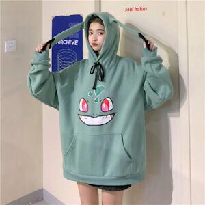 Pokemon Hoodie With Ears Women Girl Pikachu Squirtle Charmander Sweatshirt Top