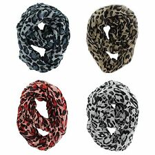 LOT OF 4X MIX WOMEN'S FASHION LEOPARD CHEETAH ANIMAL PRINT COWL INFINITY SCARVES