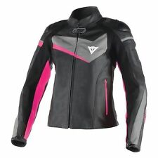NEW Dainese Veloster Womens Leather Jacket Blk/Anthracite/Fuchsia M 46 EU 8 US