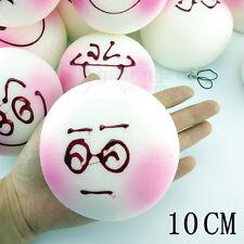 10CM Jumbo Cute Expression Squishy Soft White Bread Phone Charms Bun Strap 1PCS