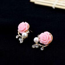 Women Cute Style Stud OL Jewelry Rose Flower Pearl Earrings Fashion Crystal