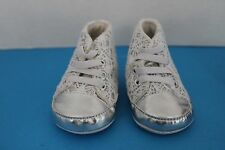 Little Me INFANT Baby GIRL~WHITE Crochet on SILVER~Size 2~SNEAKERS Crib Shoes