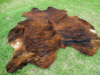 NEW LARGE BRINDLE BROWN Cowhide Rug natural Cowhides Cow Hide Skin 6X6 FEET RRS