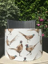 PHEASANT BIRDS FABRIC LAMPSHADE NATURAL LINEN BACKGROUND