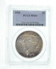 MS64 GRADED - 1925 Peace Silver Dollar- PCGS *537