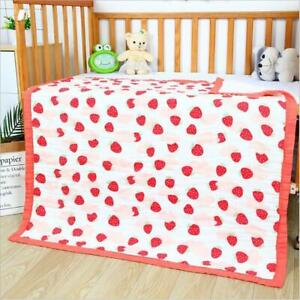 Six Layer Cotton Baby Blanket - Strawberry