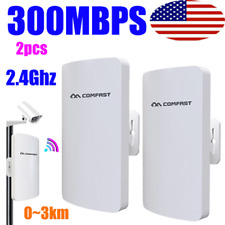 2Pcs Outdoor 300Mbps Wireless Access Point WiFi Bridge Cpe Ap Network Router Us