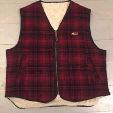 Vintage Woolrich Mackinaw plaid fleece lined gilet vest M/L made in USA