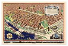 Los Mapa El Corazon De Buenos Aires Argentina circa 1949 24x36 South America Map