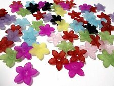150pcs 17mm x 3mm Acrylic Lucite FLOWER Beads - Frosted Assorted / Mixed Colors