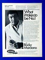 "Rocky Marciano 1970 National Car Rental Original Print Ad-8.5 x 11"""