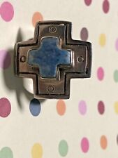 Ring - Free Shipping - Estate Sterling Silver And Lapis Lazuli Cross Design