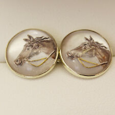 Antique 1920s reverse intaglio Essex crystal horse head cuff links, in 14ct gold