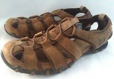 SKECHERS Womens Sz 6.5 Closed Toe Slip On Brown Leather Sport Sandals Shoes