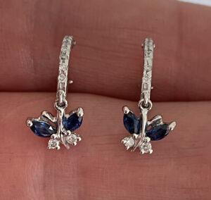 18ct Gold Sapphire & Diamond Butterfly Drop Dangling Earrings, 18k 750