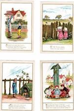 6 Nursey Rhyme unused plain back old cards artist signed A R ( NOT POSTCARDS)