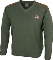 V-NECK GREEN SHOOTING HUNTING COUNTRY JUMPER SWEATER WITH EMBROIDERED PHEASANT