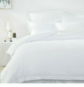Amazon Basics Light-Weight Microfiber Duvet Cover Set with Snap Buttons - white