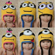 New Handmade Cotton Knit Crochet Baby Child Kids Minions Hat Cap Beanie 0-5 Year