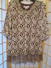 Lady Noiz Womens Sz Small Floral Tunic Blouse Top Lined Ruffle Lace