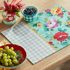 The Pioneer Women Sweet Romance  Floral Gingham Reversible Single Placemat New
