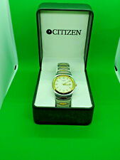 mens citizen chrome bracelet watch date display,white dial,in its original box.