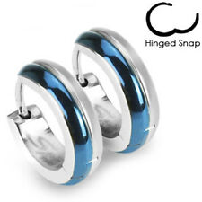 Blue Silver Hoop Earrings Stainless Steel Duo Tone Hinged