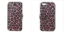 Pink Leopard Made with Swarovski Crystals Bling Card Wallet Case iPhone 7 Plus