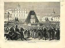 Plaza de la Cebada Rafael del Riego Madrid SPAIN ESPANA ANTIQUE PRINT 1869