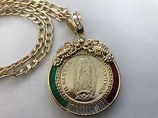 Centenario de La Virgen De Guadalupe y Calendario Azteca Oro Laminado con Cadena