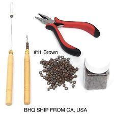 500pcs Silicone Beads + Micro Rings Loop Hair Extensions Pliers Hook Tool Kit#11