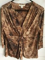 Coldwater Creek Women's Brown Print Blouse Long Sleeve Size M