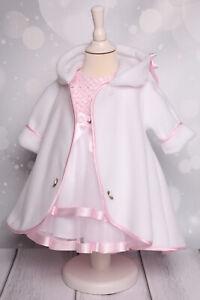 MB11 Mantel Fleecemantel Baby zum Taufkleid Taufmantel weiß/rosa Taufe NEU
