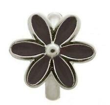 Authentic ENDLESS Sterling Silver BLACK ENAMEL FLOWER Solid 925 Charm #41155-4