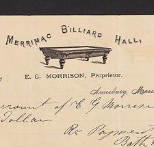 Dated 1874 Merrimac Billiard Hall Amesbury MA Pool Morrison Billhead Letterhead