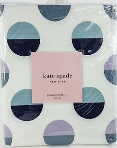 Kate Spade Half Dot Circles Fabric Shower Curtain Lilac Navy Blue Gray White NEW