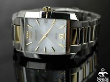Seiko SOLAR V157-0CC0 Two Toned St. Steel Silver Dial Rectangular Men's Watch