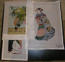 Three Asian Themed Handpainted Needlepoint Canvas