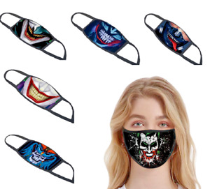 Adults Face Mask Cover Cotton Cloth Washable Halloween Joker Funky Design
