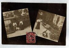 NEMOURS (77) VILLA trés animée , Carte-photo postale en 1906