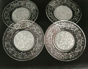 """Princess House Fantasia Clear Frosted 8"""" Luncheon Salad Plates Lot of 4 Smooth"""