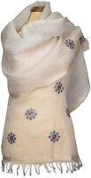 Schal Leinen, Weiß, edel bestickt Sommer scarf linen embroidered summer