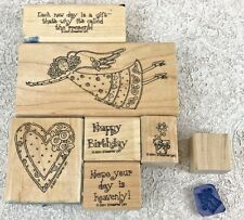 Stampin' Up! Heavenly Days 7 Stamp Set Angel 2001 Rubber Wood Mounted w/Case