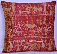 Indian Silk Cushion Cover Kantha Work Pillow Case Large Quilted Pillow Sham Boho