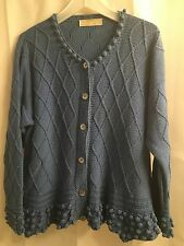HAND KNIT Helen McCabe IRELAND Popcorn Cotton ARAN Irish SWEATER Cardigan L XL