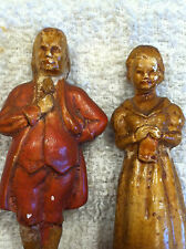 Unusial Antique Vtg Mini Plaster Chalkware Woman Man Couple  Stamped