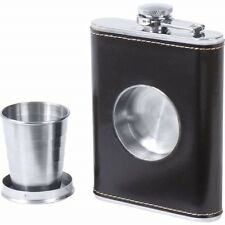 Black FLASK Builtin Collapsible SHOT GLASS Stainless Steel Screw Cap Hip Pocket