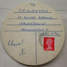 GREAT BRITAIN 1970 NORSEMAN LAGER BEER MAT WITH MACHIN STAMP MAILED NEWCASTLE