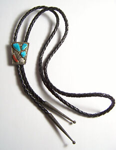 Southwestern Turquoise & Coral Bolo Tie Vintage artist signed Cheama