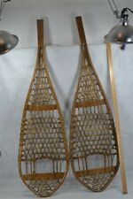 snowshoes hand made Huron beaver style 19th c 45 in. long antique original